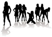 Sexy silhouette women — Stock Vector