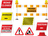 Road works signs — Stock Vector