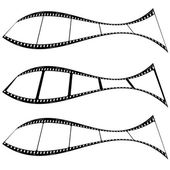 Photo film strip fish — Stock Vector