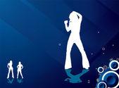 Strona dziewczyny przepływu niebieski — Wektor stockowy