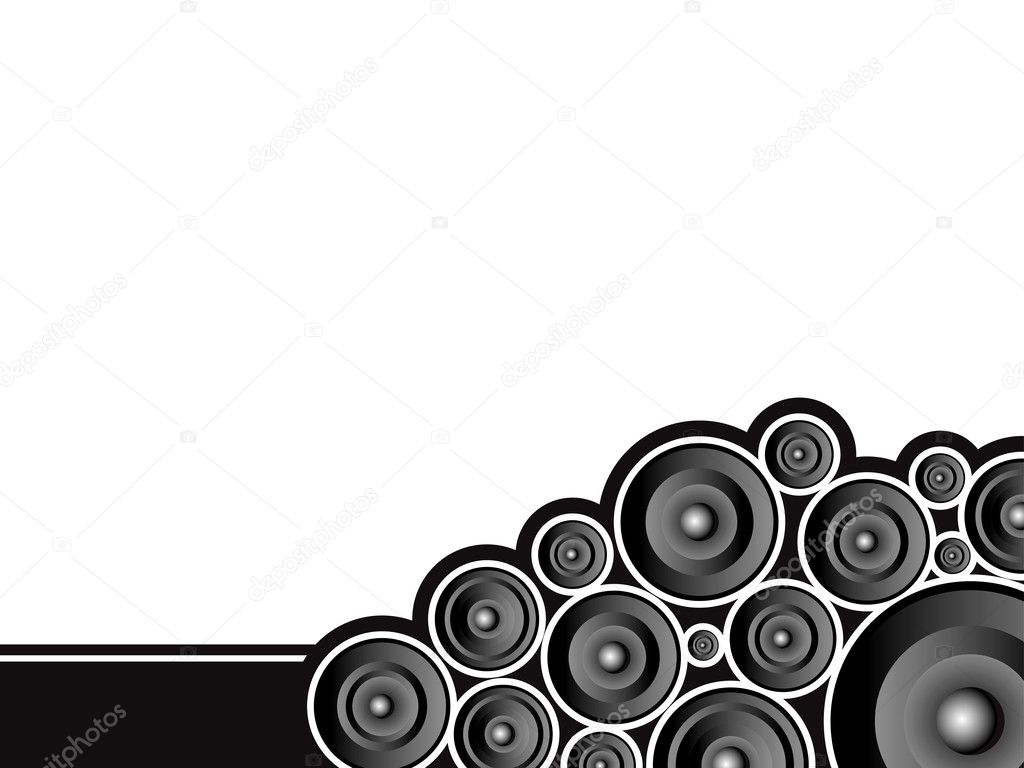 Corner speaker design with plenty of copy space in black and white — Stock Vector #3411582
