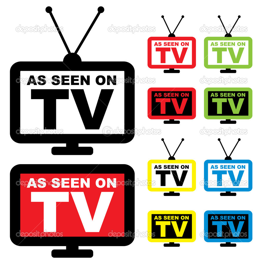 Collection of as seen on TV icon with television aerial — Stock Vector #3412149