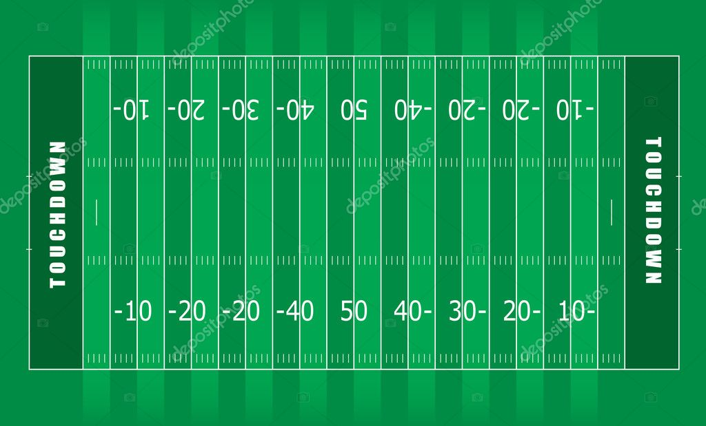 Illustrated american football field with green stripes and white lines — Stock Vector #3412207