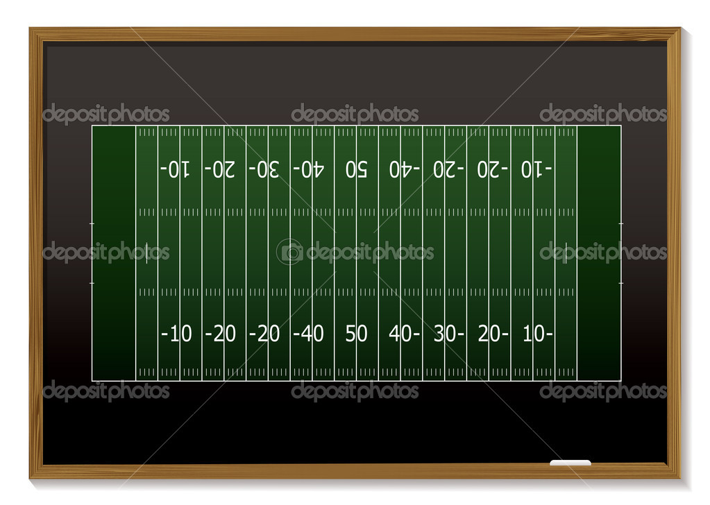 American football field with chalk markings on black board — Stock Vector #3412209
