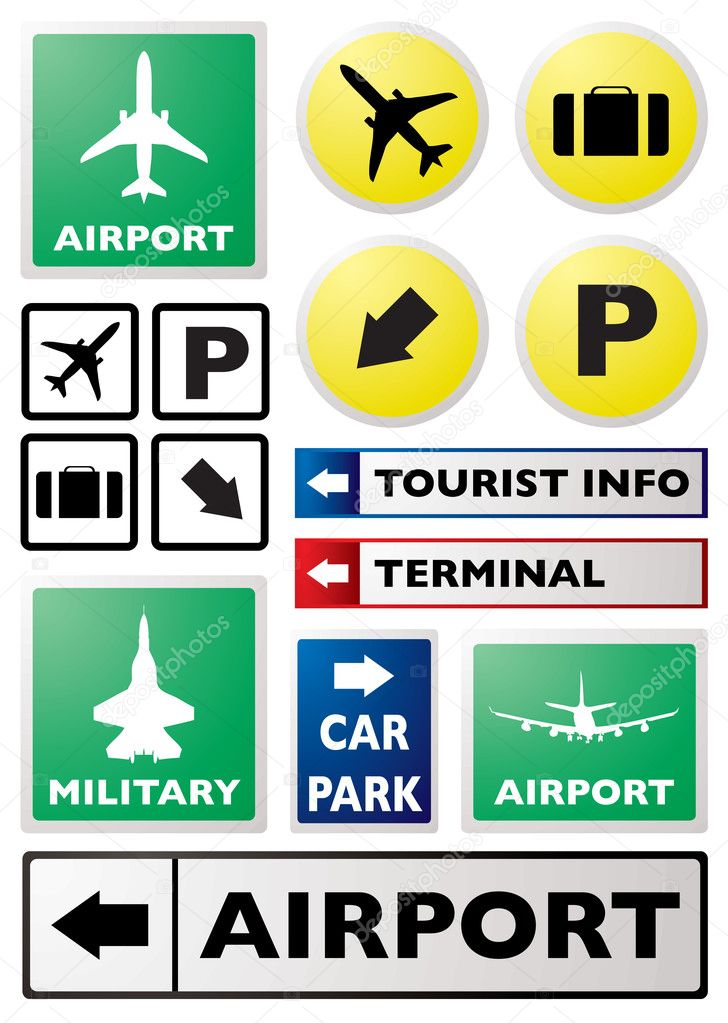 Illustration of a collection of airport sign in different colours — Stock Vector #3412262