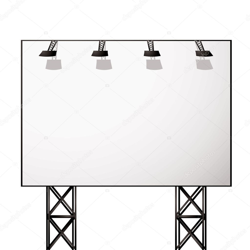 White blank billboard with black metal truss frame  Stock Vector #3413211