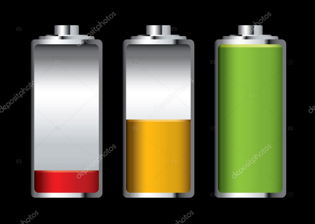 Three batteries with different levels of charge and black background  Stock Vector #3413280