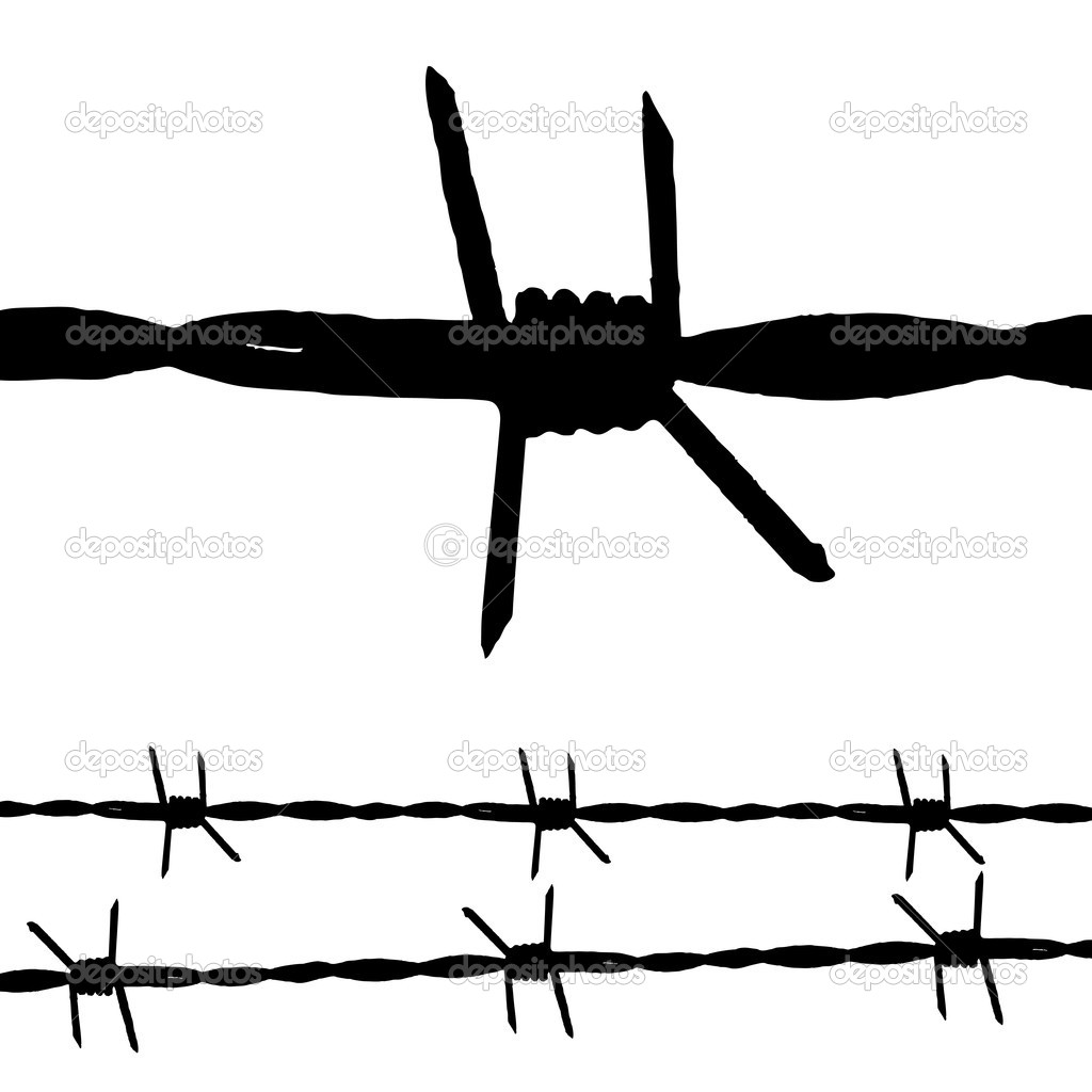 Large silhouette of some barbed wire and a seamless string — Stock Vector #3413303