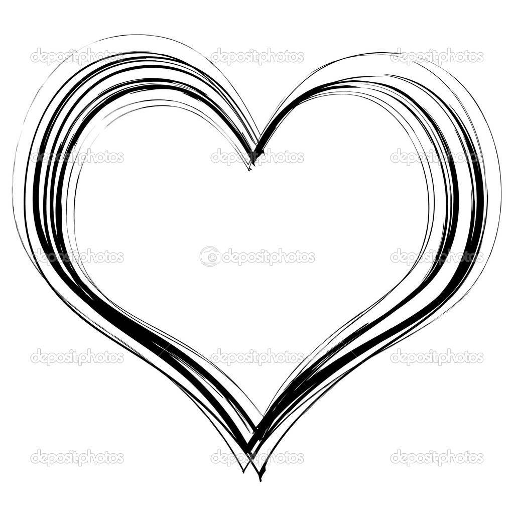 Stock Illustration Scribble Heart on Squiggle Shape