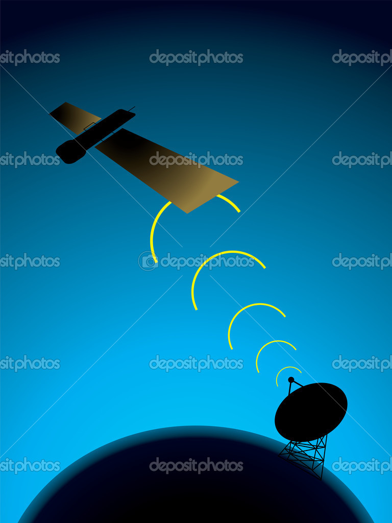Illustration of a satellite and dish on earth passing signals to each other — Stock Vector #3414853
