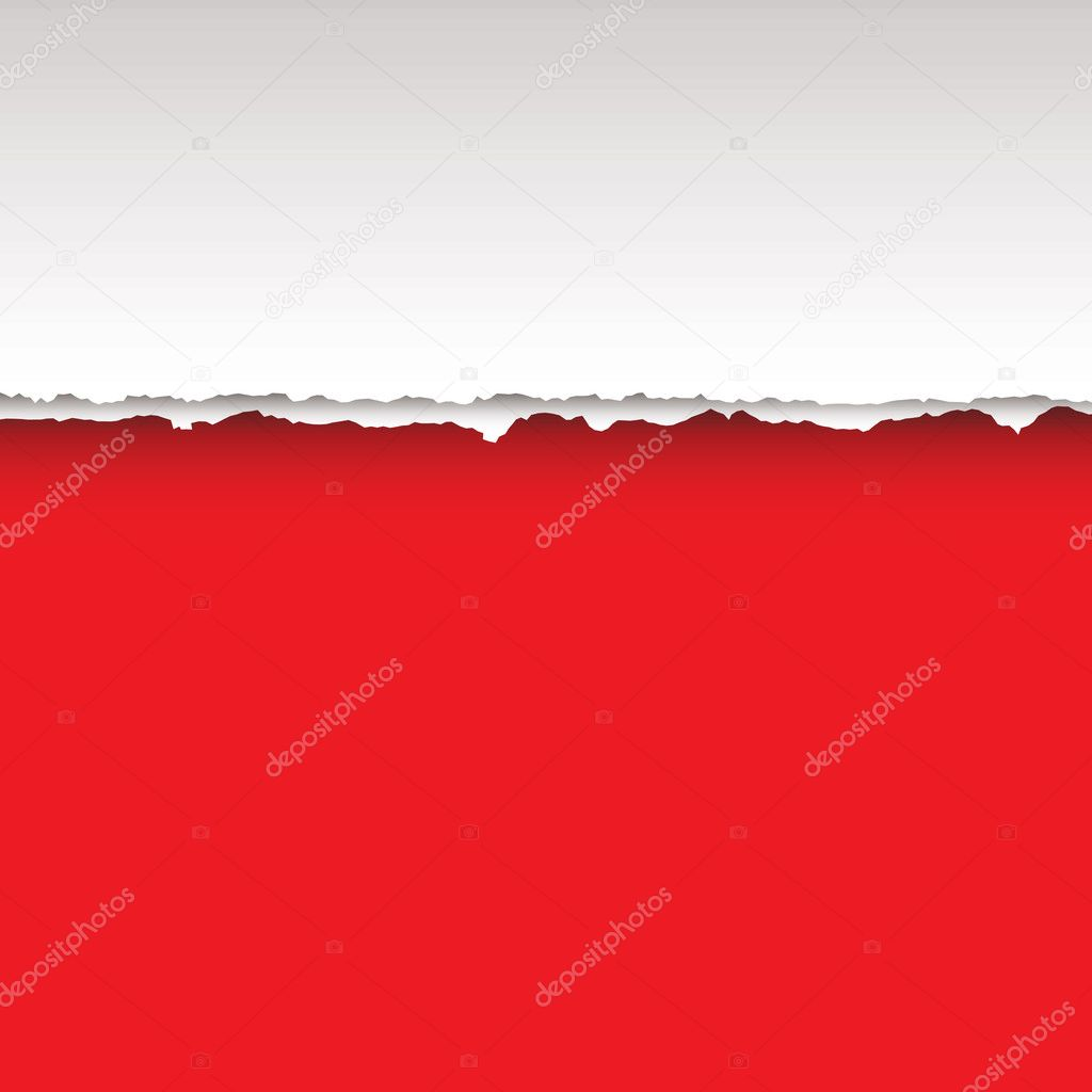 Paper page with tear and shadow with red background — Stock Vector #3415186