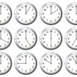Stock Vector: Office clock all times