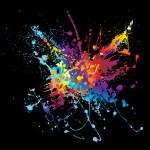 Ink splatter rainbow black — Stock Vector