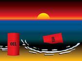Oil slick barrel sun set — Stock Vector