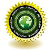 Green earth eco icon — Stock Vector