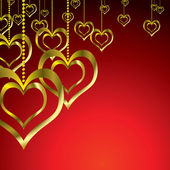 Gouden liefde hart hang — Stockvector