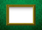 Gold frame on green — Stock Vector