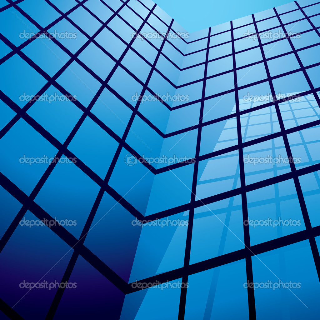 Office building with glass windows and reflection with blue sky — Image vectorielle #3420215