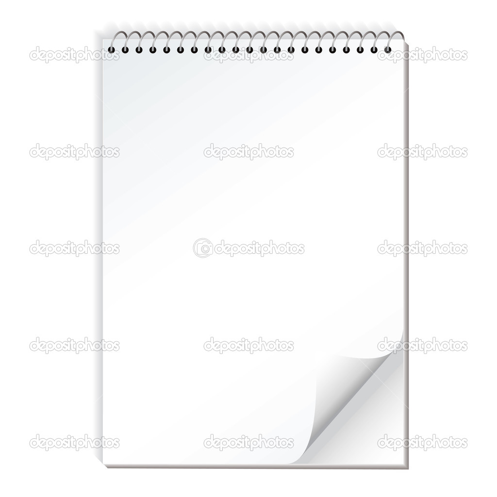 Spiral bound illustrated note pad with realistic shadow and page curl — Stock Vector #3420313