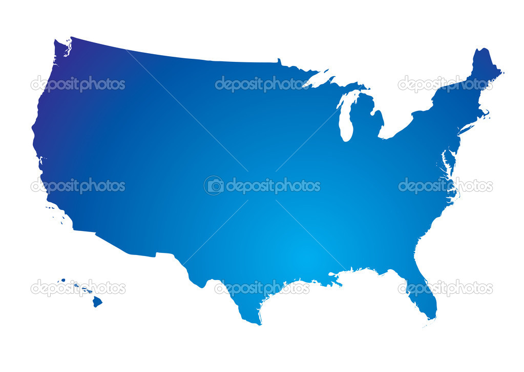 Illustration of the north american land mass in blue  Stock Vector #3420314