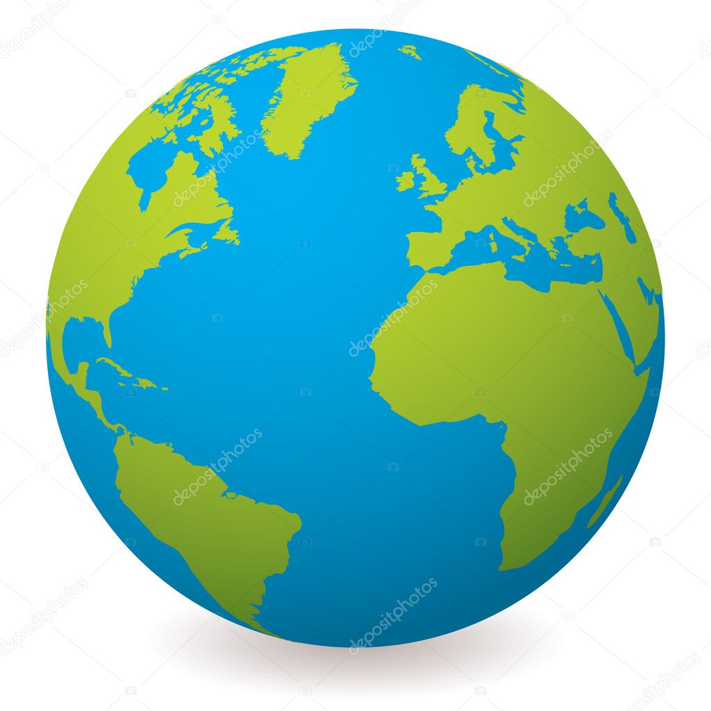 Illustrated earth globe in realistic land and ocean colours — Stock Vector #3420555