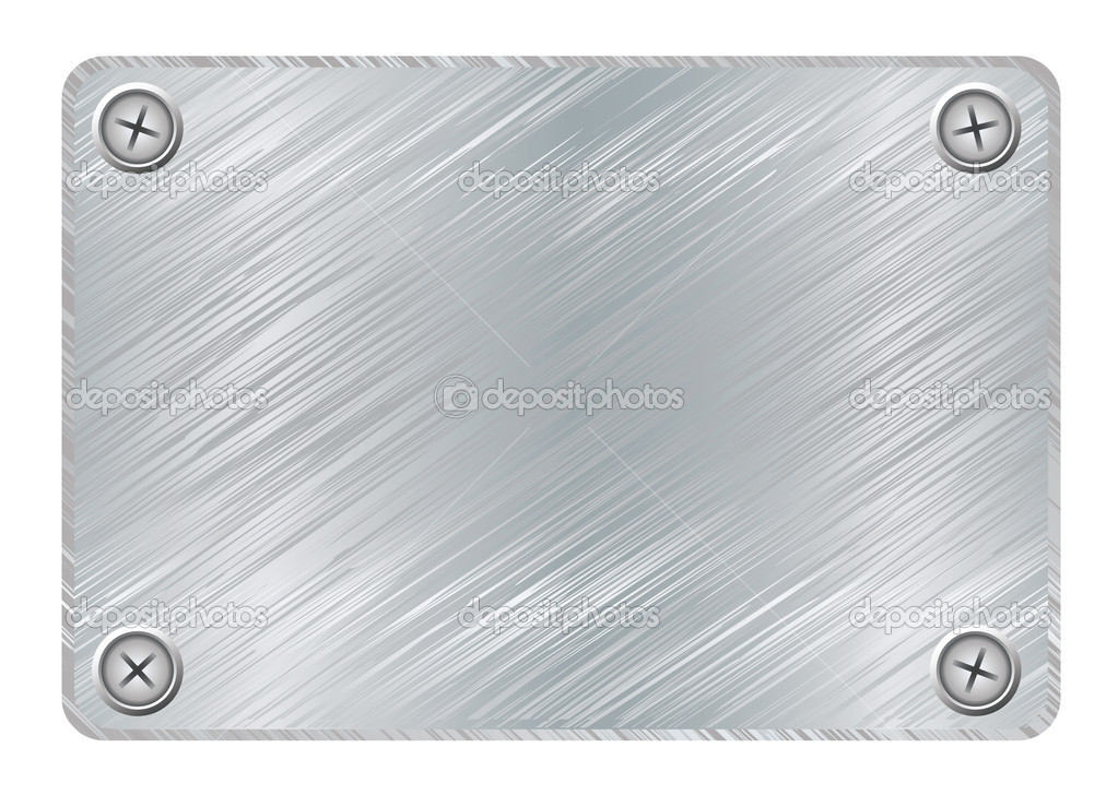 Silver metal plaque with brushed metal surface and screws — Stock Vector #3421359