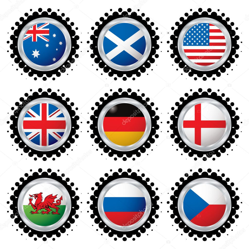 Collection of the most used flag in the world with halftone dot — Stock Vector #3423133