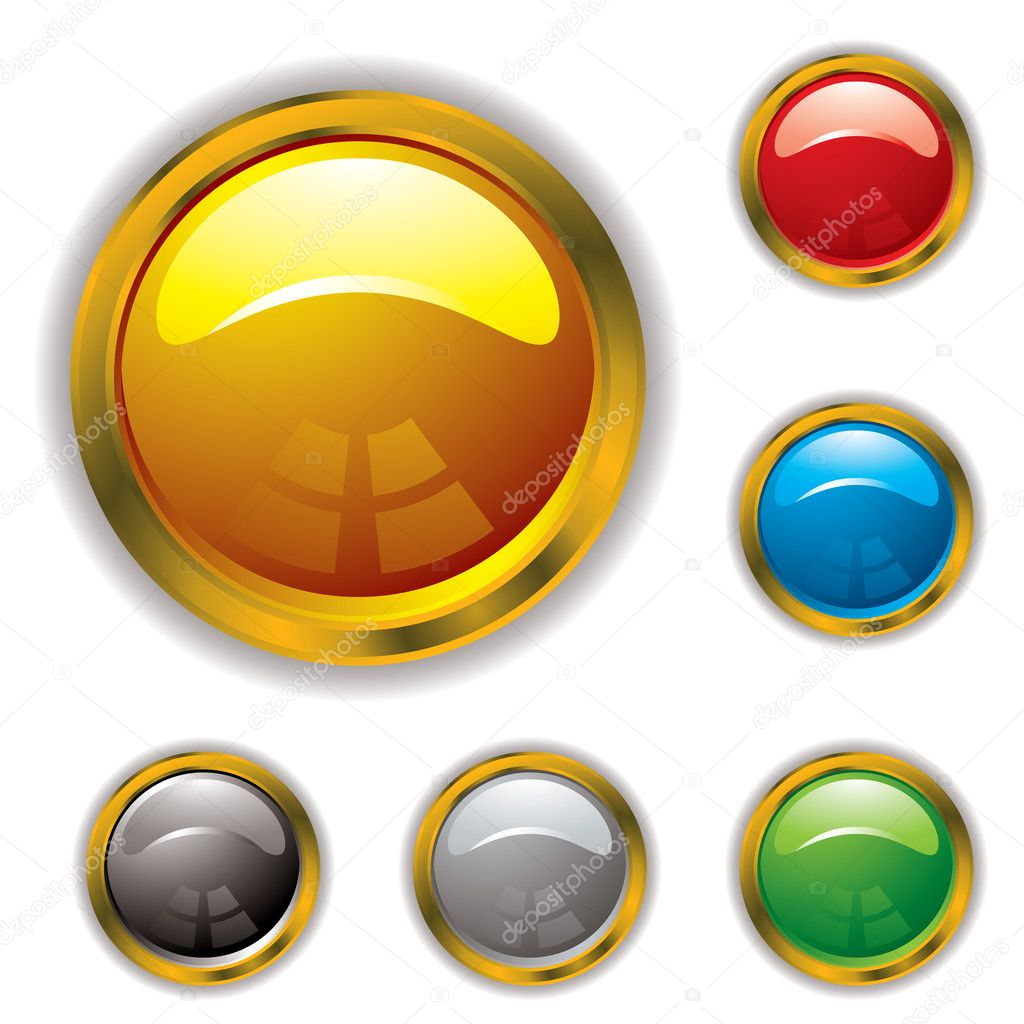 Circular gel filled icons with gold bevel and drop shadow  Stock Vector #3424988