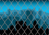 City behind fence — Stock Vector