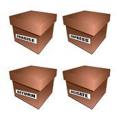 Cardborad box notice — Stock Vector