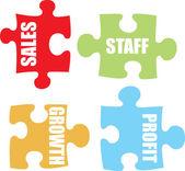 Business jigsaw colour — Stock Vector