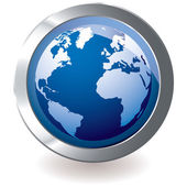 Blue icon earth globe — Stock Vector
