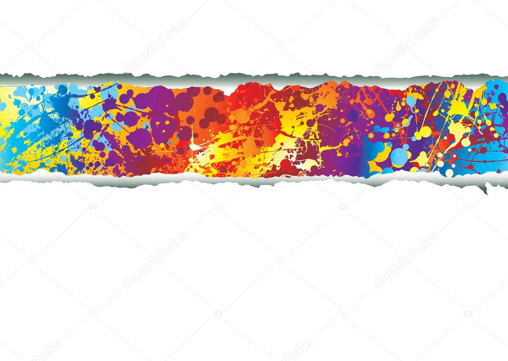 Rainbow ink splat background with tear in paper  Stock Vector #3430179