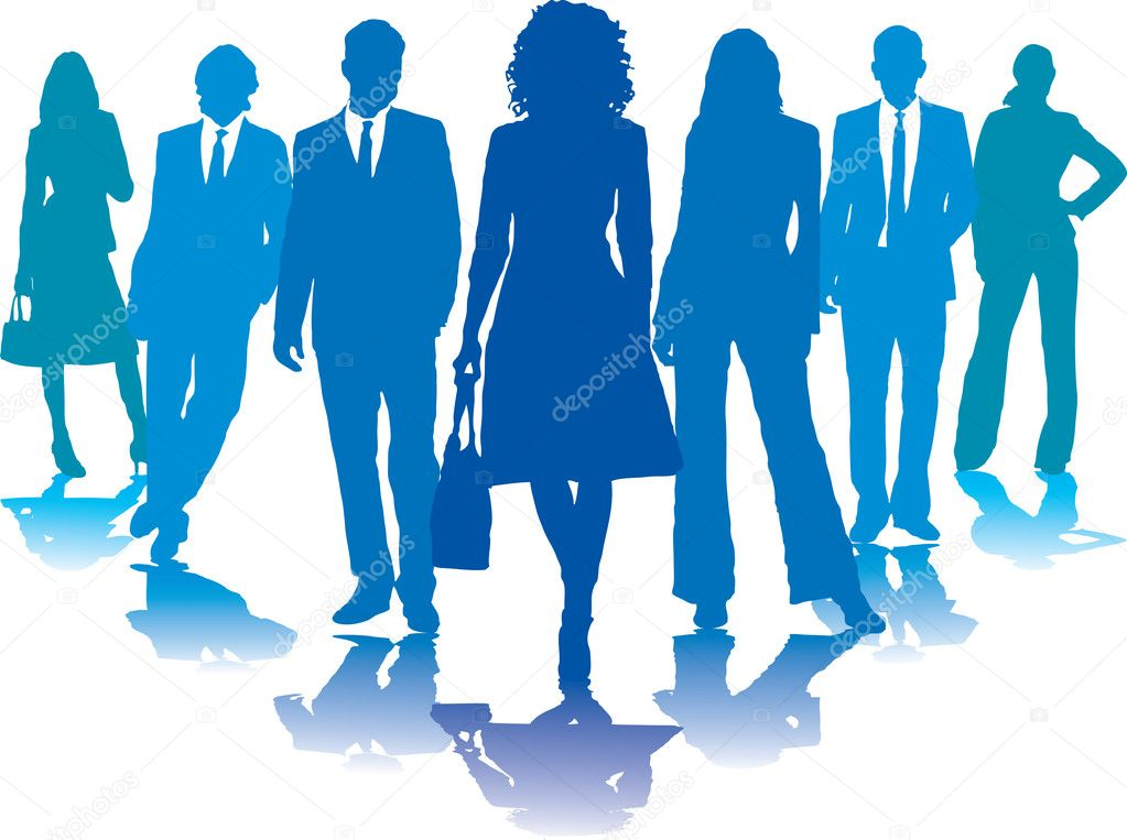 A small group of business in blue silhouettes — Stock Vector #3431002