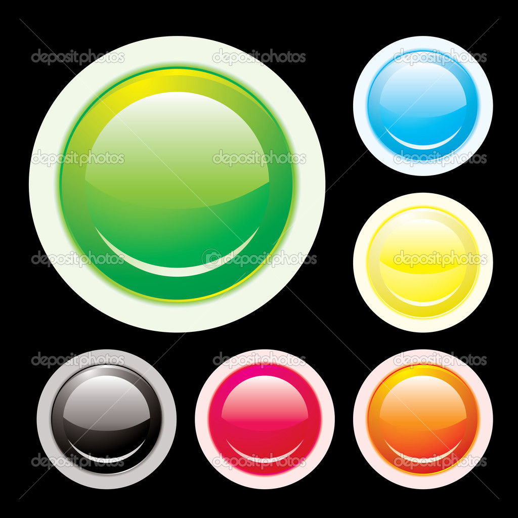 Collection of icon buttons with pale lip with shiny reflections  Stock Vector #3431093