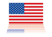 American flag reflection — Stock Vector
