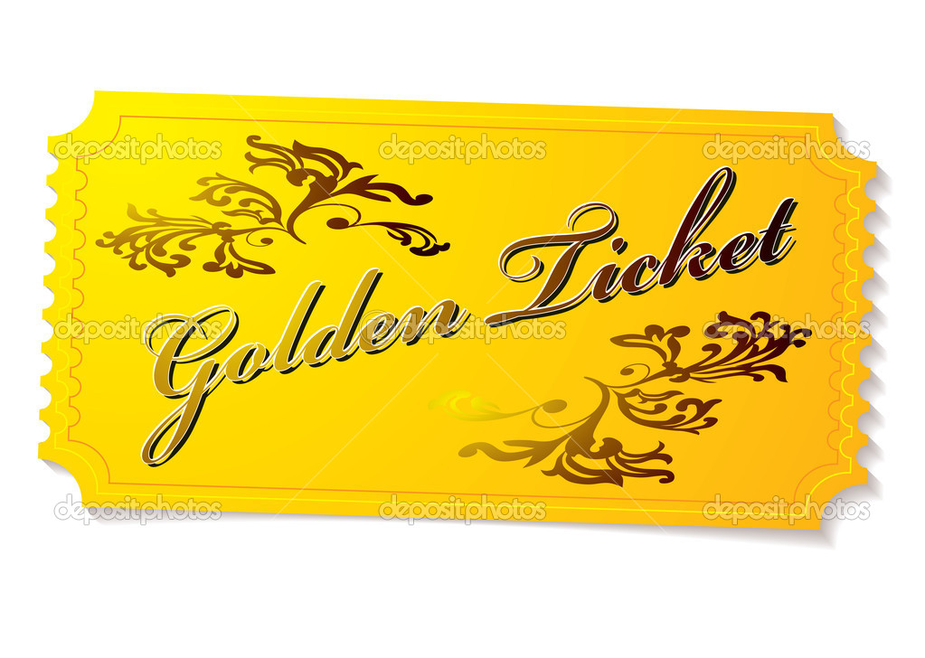 Golden winning competition ticket with floral elements and shadow — Stock Vector #3704470