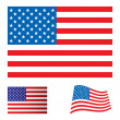 USA flag set - Stock Vector
