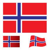 Norway flag set — Stock Vector
