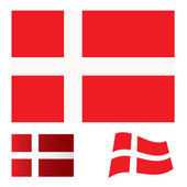 Denmark flag set — Vettoriale Stock