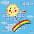 Royalty-Free Stock Imagen vectorial: The sun and rainbow