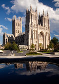 Reflection of Washington Cathedral — Stock Photo
