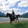 Girl riding horse in New Zealand — Stock Photo