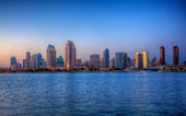 San Diego skyline on clear evening in HDR — Stock fotografie