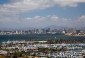 San Diego Skyline over yachts — Stock Photo