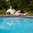Senior male by pool — Stock Photo