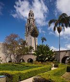 California Tower from Alcazar Gardens in Balboa Park — Stock Photo