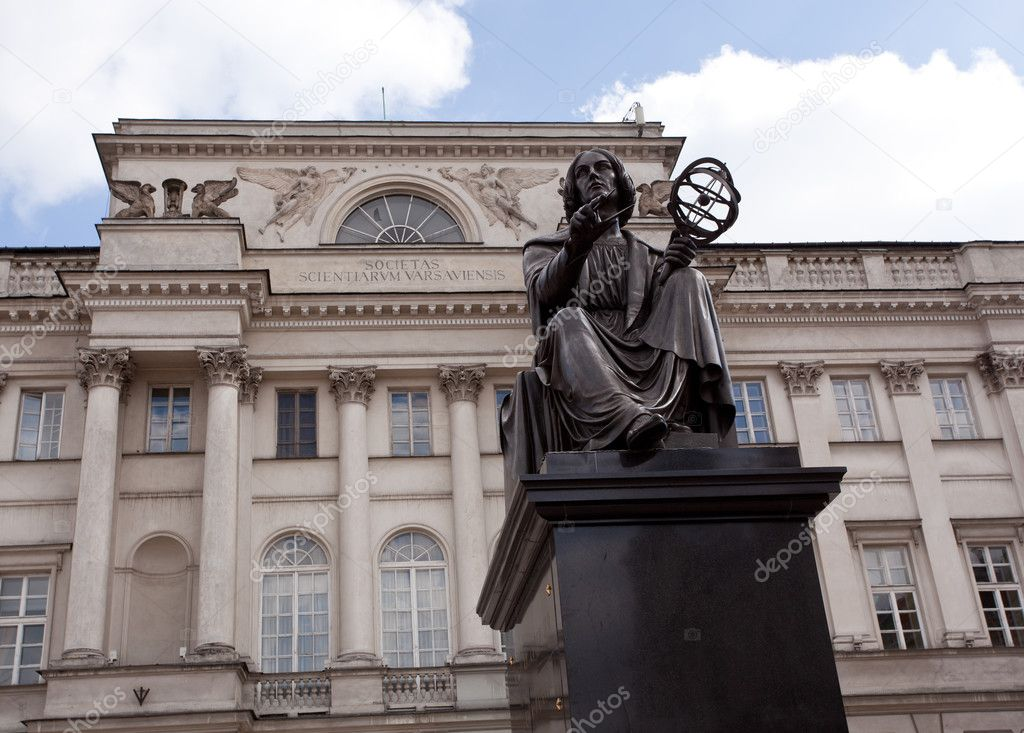 Statue of astromoner Copernicus in Warsaw Poland in front of Academy of Science  Stock Photo #3417389