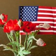 Royalty-Free Stock Photo: American Flag with red flowers