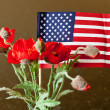 American Flag with red flowers — Stock Photo
